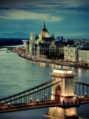 Hungary, Budapest, Parliament Buildings, Chain Bridge and River Danube Photographic Print
