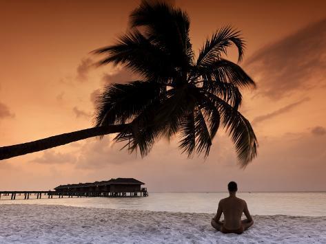 Maldives, Meemu Atoll, Medhufushi Island, Man Meditating on the Beach (Mr) Photographic Print