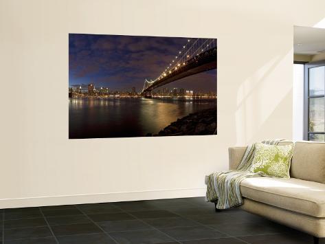 Manhattan Bridge and Brooklyn Bridge, New York City, USA Wall Mural