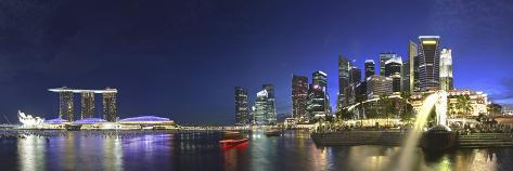 Singapore, Merlion Park and Singapore Skyline Photographic Print