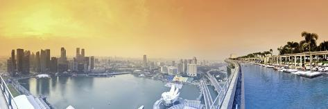 Singapore, Swimmingpool and Singapore Skyline on the 57th Floor of Marina Bay Sands Resort Photographic Print