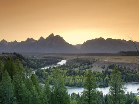 Snake River Overlook and Teton Mountain Range, Grand Teton National Park, Wyoming, USA Photographic Print