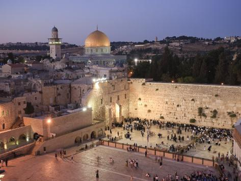 Wailing Wall, Western Wall and Dome of the Rock Mosque, Jerusalem, Israel Photographic Print