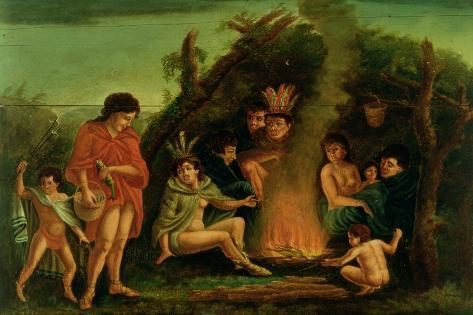 Fireboard Depicting an Indian Encampment, 1804 Lámina giclée