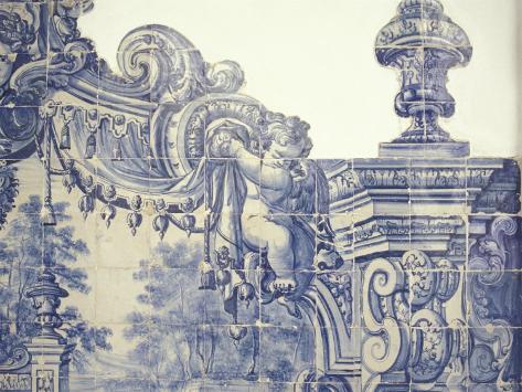 Decorative Tiles in the Cloister of Sao Vincente da Fora, Lisbon, Portugal Photographic Print