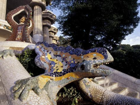 Lizard Mosaic in Parc Guell, Barcelona, Spain Photographic Print