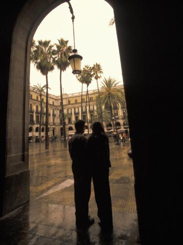 Couple in Plaza Real Gothic Square, Barcelona, Spain Photographic Print
