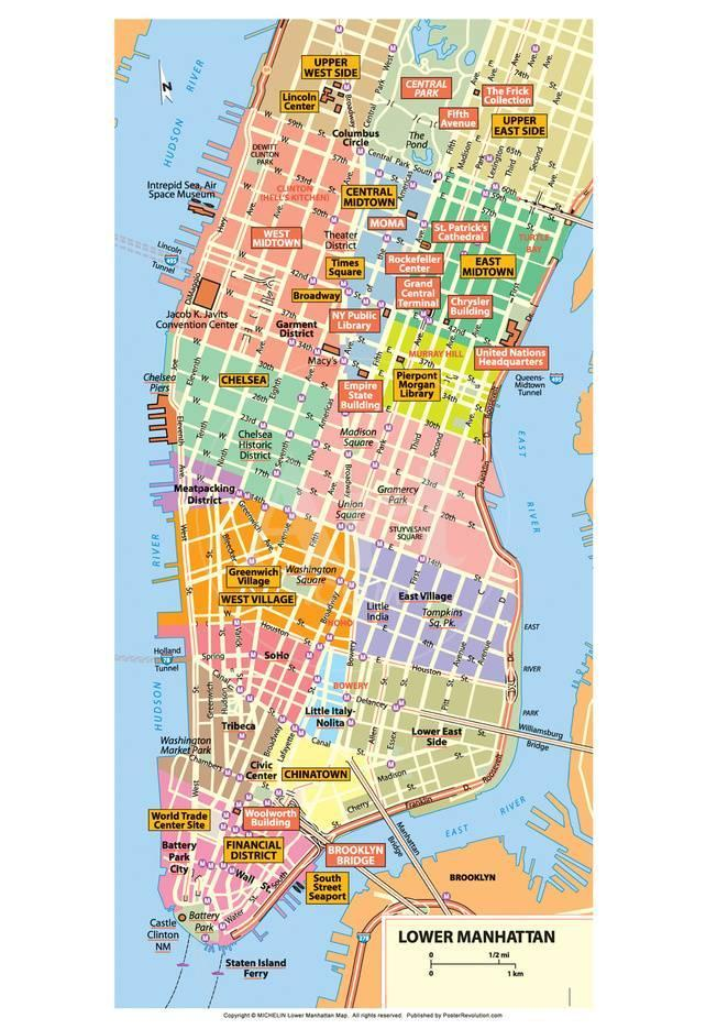 Michelin Official Lower Manhattan Nyc Map Art Print Poster Prints At