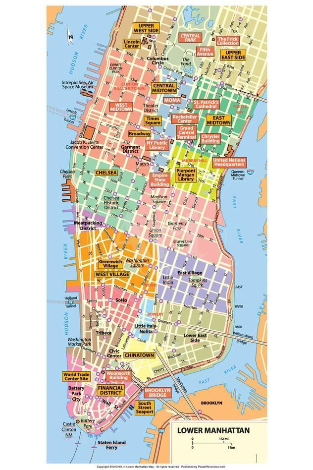 Nyc Subway Map 1989.Michelin Official Lower Manhattan Nyc Map Poster