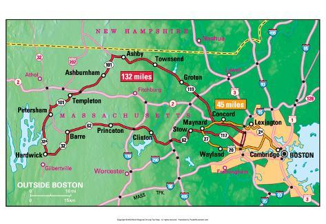 Michelin Official Outside Boston Driving Tour Map Art Print Poster Poster