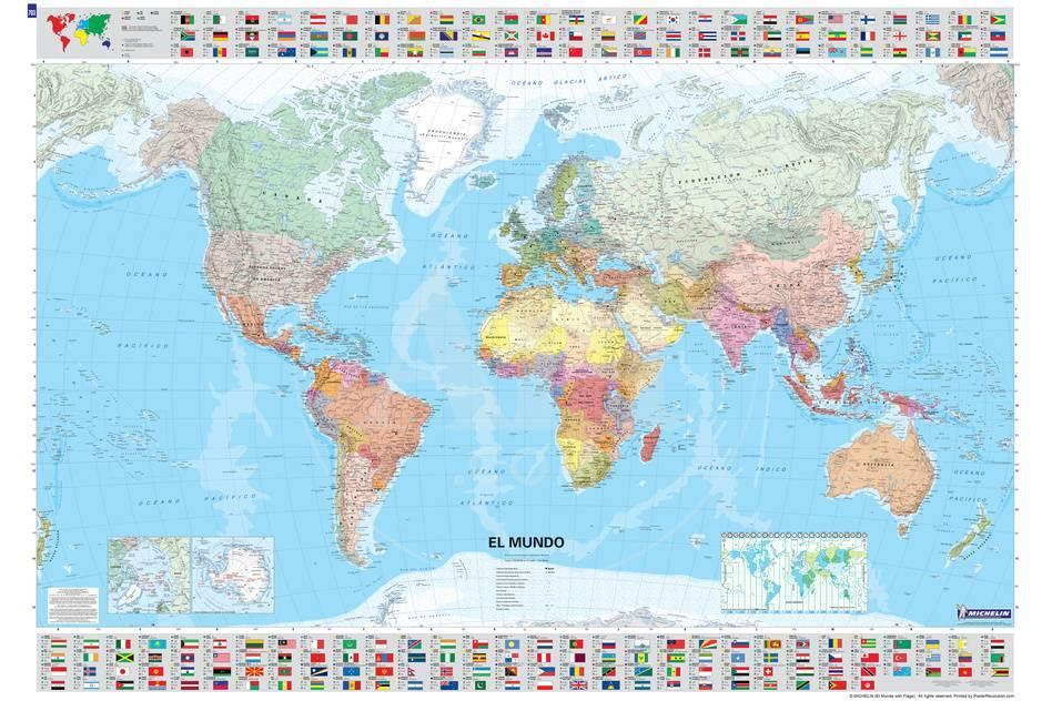 Michelin Official Spanish World Map With Flags Poster Posters At