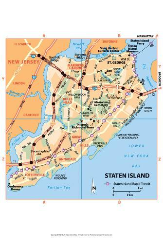 Michelin Official Staten Island NYC Map Art Print Poster Poster