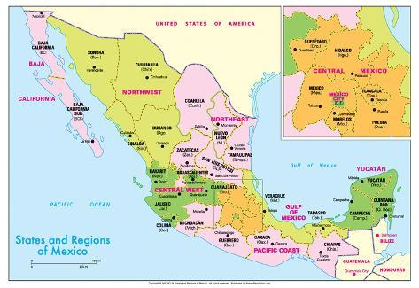 Michelin Official States And Regions Of Mexico Map Art Print - Faded poster maps for sale us