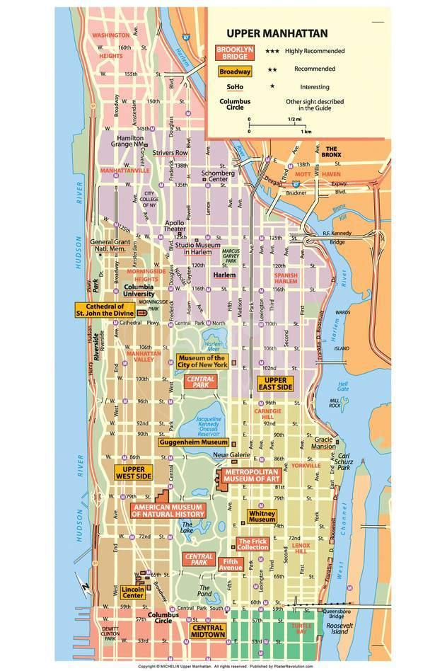 Michelin Official Upper Manhattan Nyc Map Poster Posters At