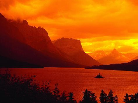 Sunset Over Lake in Glacier National Park Photographic Print