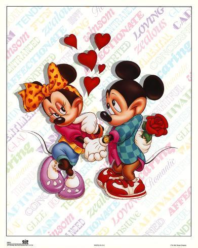 オールポスターズの mickey and minnie mouse love 高品質プリント