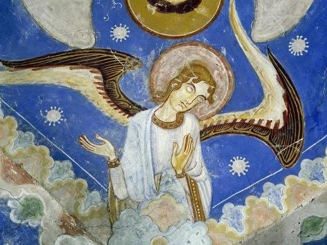 Middle Angels, Detail of Eastern Arm of Frescoed Stone Cross Lámina giclée