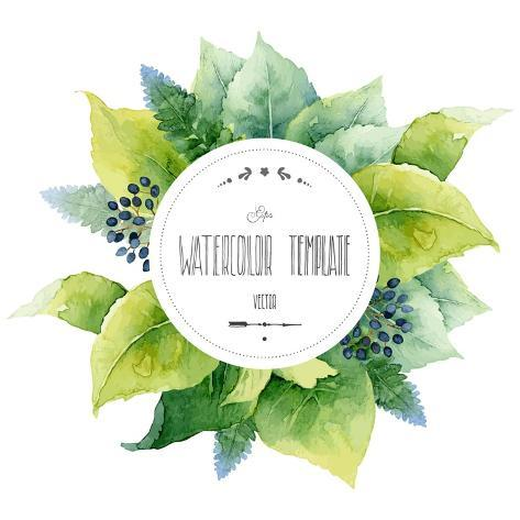 Round Watercolor Template with Green Leaves and Circular Place for Text. Vector Illustration Stampa artistica