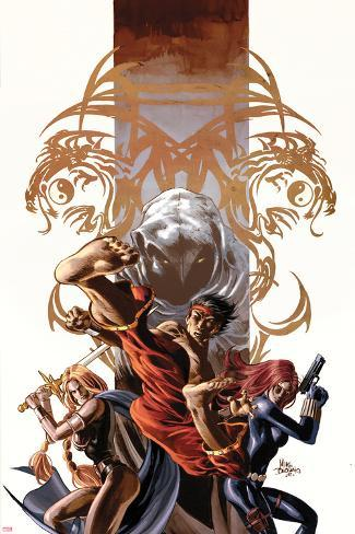 Secret Avengers No.7 Cover: Shang-Chi, Valkyrie, Black Widow, and Moon Knight Posing Poster