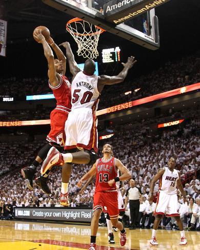 Chicago Bulls v Miami Heat - Game Four, Miami, FL - MAY 24: Derrick Rose and Joel Anthony Photo