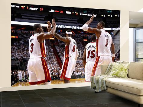 Miami, FL - June 17: Dwyane Wade, LeBron James and Chris Bosh Wall Mural – Large