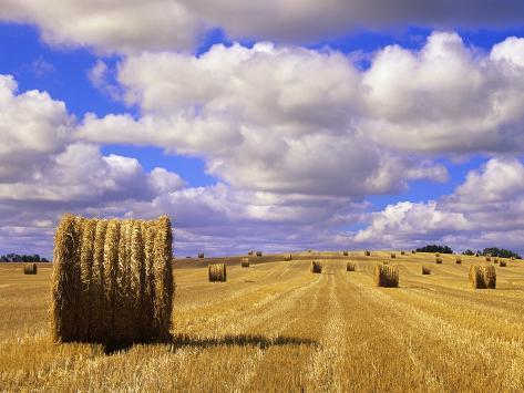 Bales and Clouds Near Sherbrooke, Saskatchewan, Canada. Photographic Print