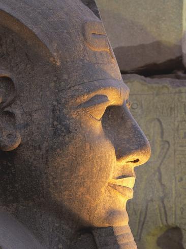 Illuminated Ramses II Head Stretched Canvas Print