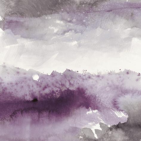 Midnight at the Lake II Amethyst and Grey Art Print