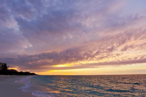 A Purple and Pink Sky at Sunset over Grace Bay and the Beach Photographic Print