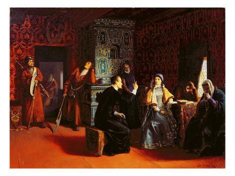 Marina Mniszech under Arrest with a Priest, 1883 Stretched Canvas Print