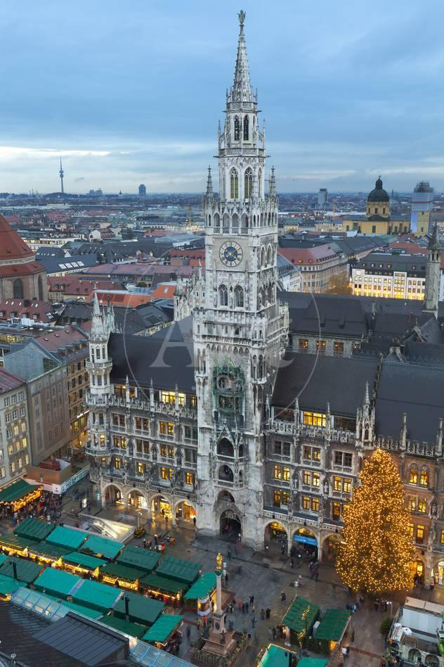 Munich Germany Christmas.Overview Of The Marienplatz Christmas Market And The New Town Hall Munich Bavaria Germany