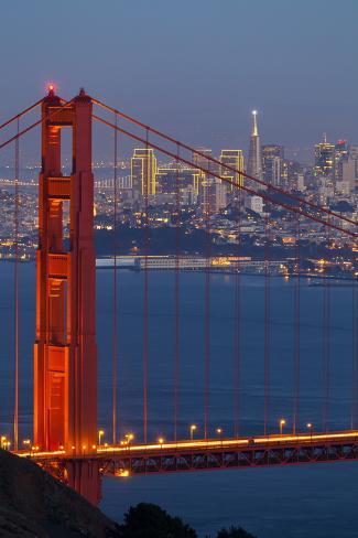 The Golden Gate Bridge and San Francisco Skyline at Night Photographic Print