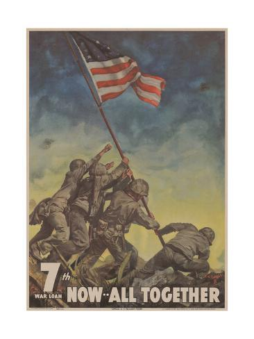 Military and War Posters: 7th War Loan. Now… All Together; U.S. Government Printing Office, 1945 Stretched Canvas Print