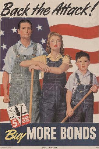 Military and War Posters: Back the Attack! Buy More Bonds! U.S. Government Printing Office, 1944 Stampa artistica
