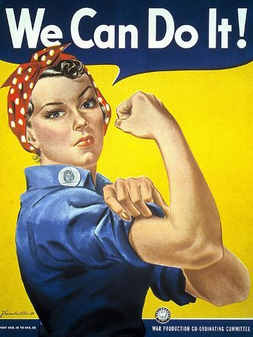 Military and War Posters: We Can Do It! J Howard Miller, 1942 Stampa giclée premium