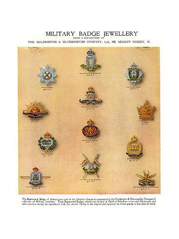 Military Badge Jewellery, WW1 Stampa giclée