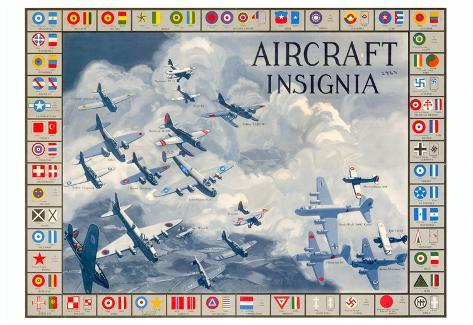 Military Planes of the World Aircraft Insignia WWII War Propaganda Art Print Poster Poster