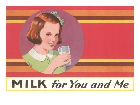 Milk for You and Me Advertisement, School Girl Art Print