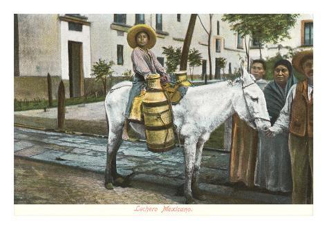Milk Seller on Burro, Mexico Art Print