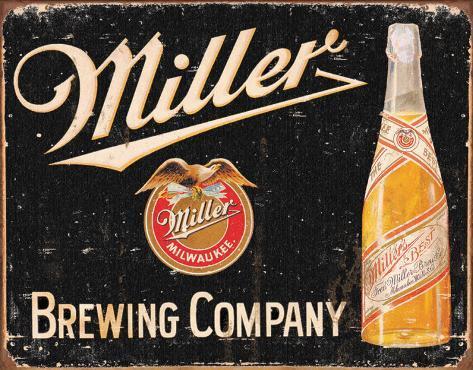 Miller Brewing, vintage Plåtskylt
