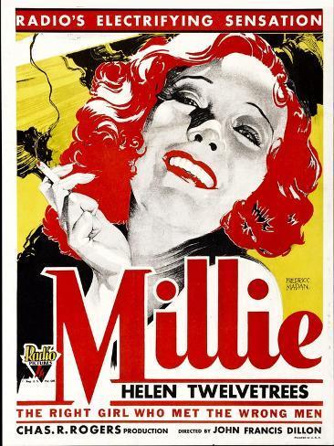 MILLIE, Helen Twelvetrees on window card, 1931. Art Print
