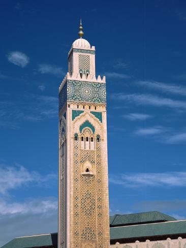 Minaret of a Mosque, Mosque Hassan Ii, Casablanca, Morocco Stretched Canvas Print