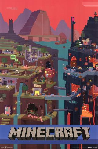 Minecraft Cube Lamina Framed Poster
