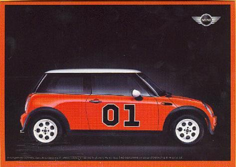 Mini Cooper (Red, Dukes of Hazzard) Postcard Print Poster Card