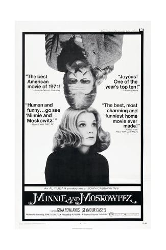 MINNIE AND MOSKOWITZ, US poster, from top: Seymour Cassel, Gena Rowlands, 1971 Art Print