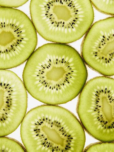 Organic Kiwi Slices, White Background Valokuvavedos