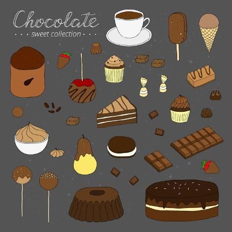 Hand Drawn Chocolate Products Isolated on Chalkboard. Cocoa, Chocolate Cake, Cupcake, Bundt, Ice Cr Taidevedos