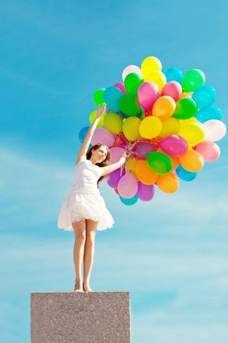 Happy Birthday Woman Against The Sky With Rainbow Colored Air Balloons In Her Hands Sunny And Posi Photographic Print By Miramiska At AllPosters