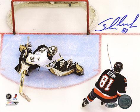 Miroslav Satan Shootout Goal vs Penguins Autographed Photo (Hand Signed Collectable) Photo