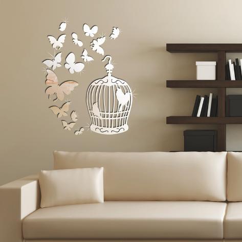 Mirror Butterflies And Birdcage Mirror Wall Art Wall Decal
